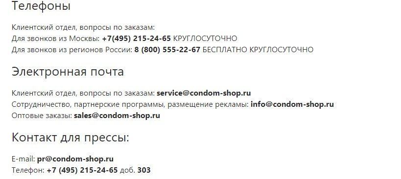 интим магазин - контакты